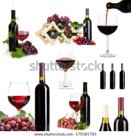 Collage of wine tasting isolated on white - stock photo