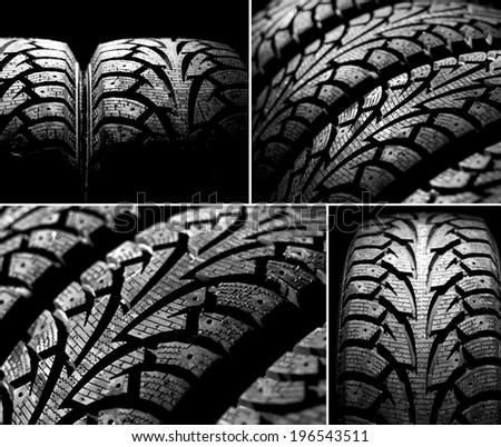 Collage of winter car tyres on a black background