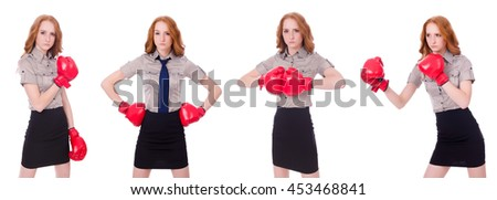 Collage of woman businesswoman with boxing gloves on white - stock photo