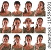 Collage of woman close up portrait with different expressions against white background. - stock photo