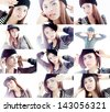 Collage of woman different headshotl expressions - stock photo