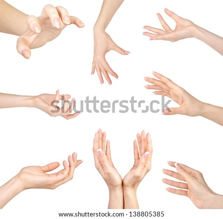 Collage of woman Hands gestures set, on white background. - stock photo