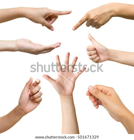 Collage of woman hands isolated on white background