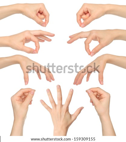 Collage of woman hands on white background  - stock photo