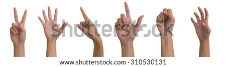 Collage of woman hands on white backgrounds - stock photo