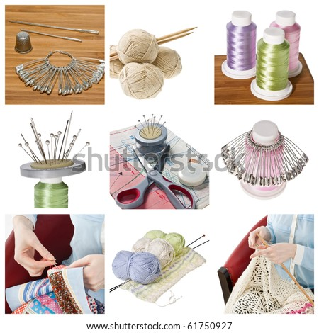 Collage of woman hobbies - patchwork and knitting - stock photo