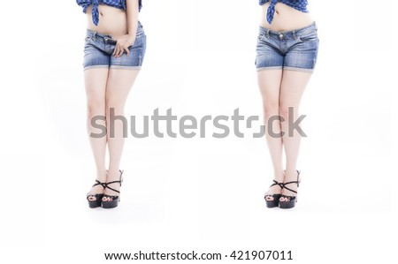Collage of woman legs with jeans shorts