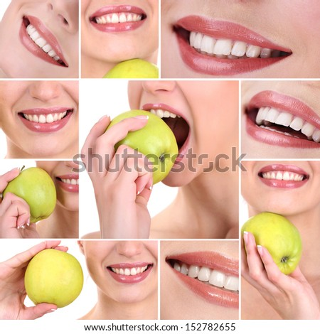 Collage of  woman mouth with healthy teeth - stock photo