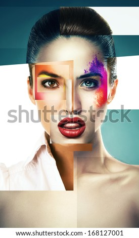 collage of woman with powder on face - stock photo