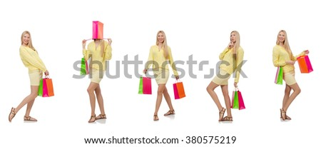 Collage of woman with shopping bags - stock photo