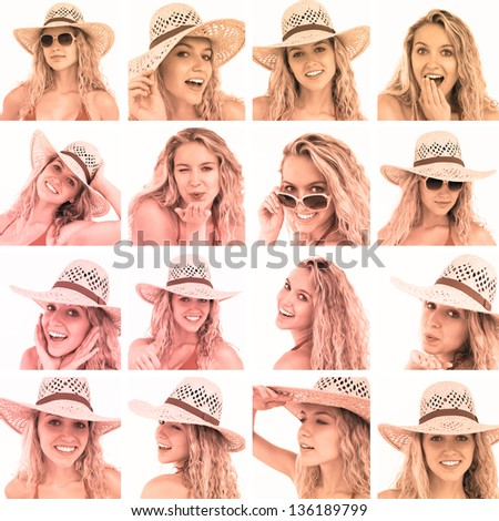 Collage of woman with straw hat and sunglasses in sepia