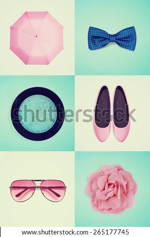 collage of women's clothing - stock photo