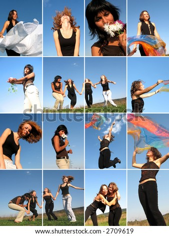 Collage of young attractive girls having fun outdoor