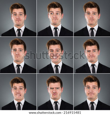 Collage of young businessman with various expressions against gray background - stock photo