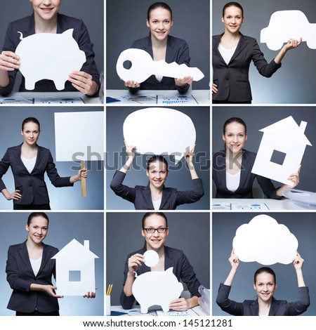 Collage of young businesswoman holding paper figures - stock photo
