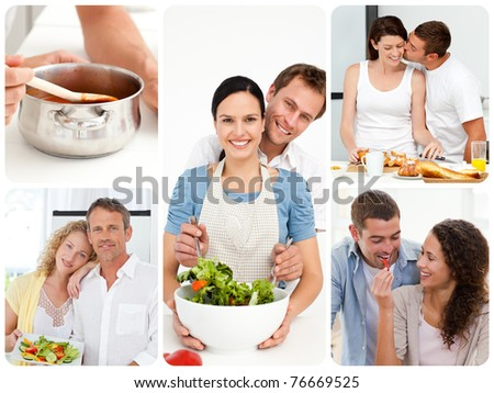 Collage of young couples in the kitchen - stock photo