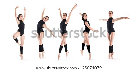 Collage of young dancer posing in different positions isolated on white background. Ballerina project.