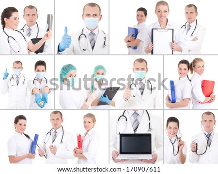 collage of young doctors at work isolated on white - stock photo