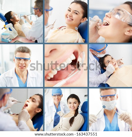 Collage of young girl at the dentist�¢??s - stock photo
