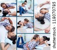 Collage of young guy and his girlfriend relaxing at home - stock photo