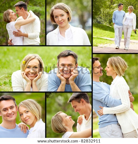 Collage of young happy couple enjoying summer vacation - stock photo