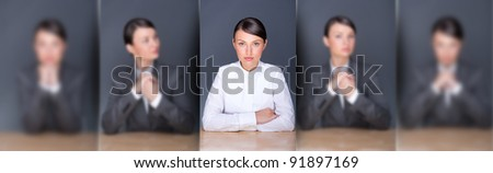 Collage of young leading employer in focus and her clones in blur in different poses - stock photo