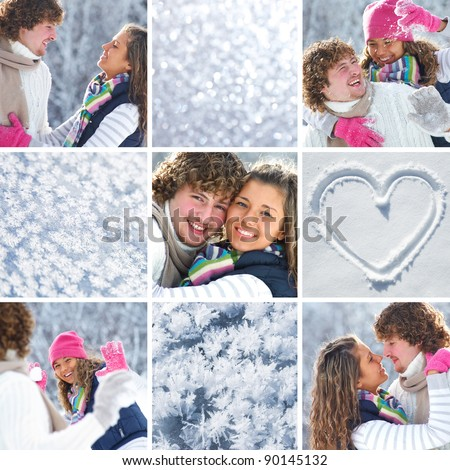 collage of young loving couple in wintertime and differente  form snow
