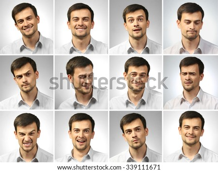 Collage of young man expressing different emotions - stock photo