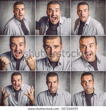 Collage of young man face expressions composite - stock photo