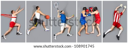 Collage of young men in different sports activities - stock photo