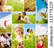 Collage of young people having summer rest outside - stock photo