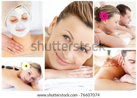 Collage of young people relaxing in a Spa centre - stock photo