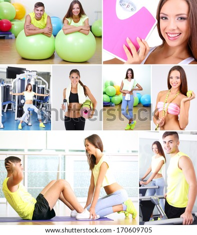 Collage of young people working out in gym - stock photo