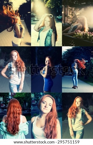 Collage of young red haired women toned image instagram style - stock photo