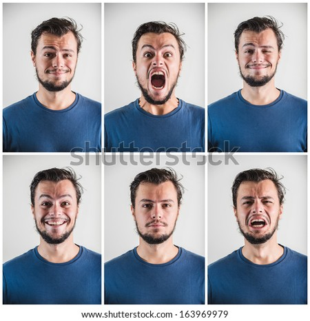 collage of young stylish man expressions on white background - stock photo