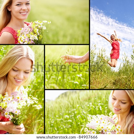 Collage of young woman enjoying summer - stock photo