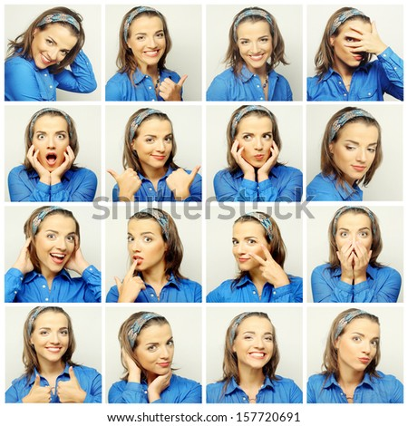 Collage of young woman face expressions composite