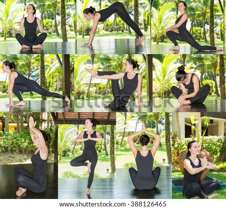Collage of young woman is practicing yoga and pilates on nature. Morning meditation at summer - stock photo