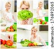 Collage of young women cooking healthy food at home in the kitchen. - stock