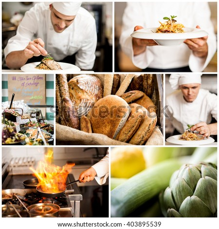 Collage on culinary theme consisting of delicious dishes - stock photo