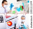 Collage on science with young woman and laborotary equipment - stock photo