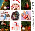 collage on the theme of Christmas: Christmas, family, kids, gifts, tree - stock photo