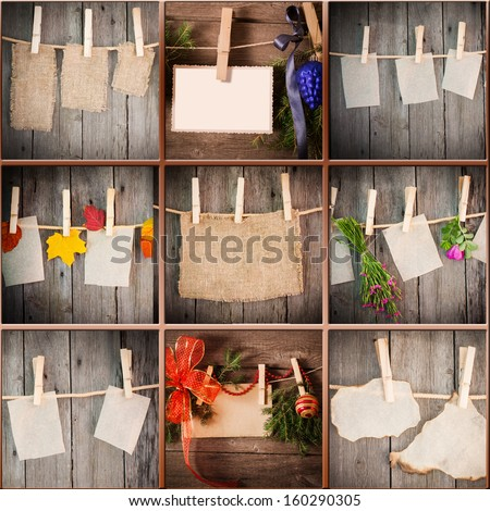 collage on wooden background - stock photo