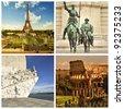 Collage. Paris. Madrid. Lisbon. Rome. - stock photo