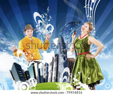 Collage people dancing on the background of skyscrapers. - stock photo