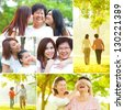 Collage photo mothers day concept. Family generations having fun at outdoor park. All photos belong to me. - stock