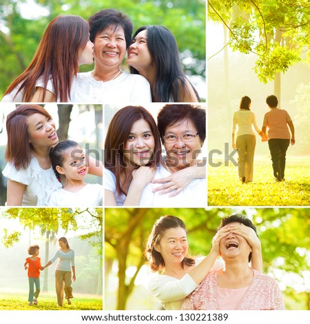 Collage photo mothers day concept. Family generations having fun at outdoor park. All photos belong to me. - stock photo