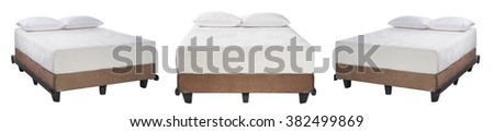 Collage photo of king size bed with mattress and pillows isolated on white background - stock photo
