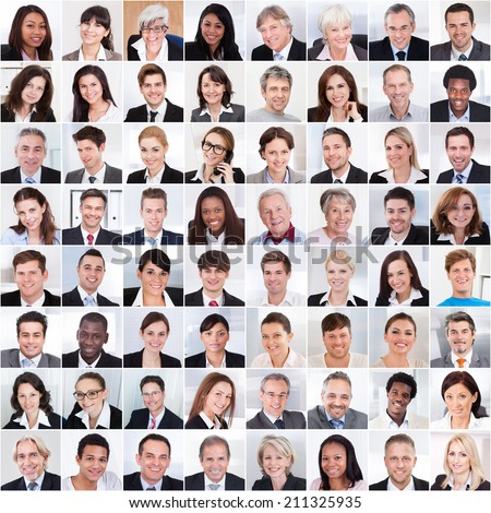 Collage photo of multiethnic business people smiling - stock photo