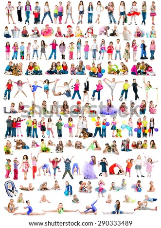 collage photos of  different ages children  on a white background isolated